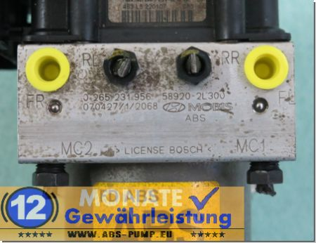 Bloc ABS Calculateur 589202L300 0-265-231-956 Bosch 0265800639 Hyundai i30
