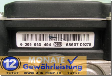 Bloc ABS calculateur 47660-1U600 0265235043 Bosch 0-265-950-494 Nissan Note
