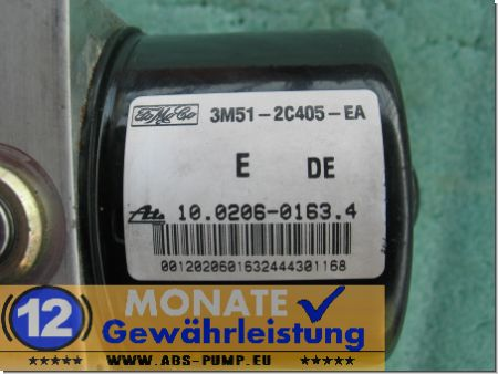 ABS Unit 3M512C405EA 10.0206-0163.4 Ate 10096001113 Mazda 3 Focus