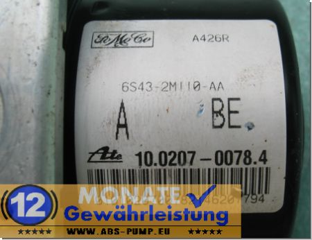 Bloc ABS 6S43-2M110-AA 10020700784 Ate 10.0970-0126.3 Ford Transit Connect
