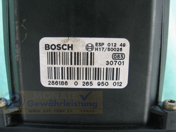Bloc ABS calculateur 8E0-614-517-A 0265225045 Bosch 0-265-950-012 Audi A4 S4