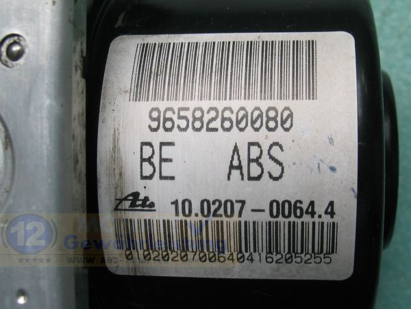 Bloc ABS calculateur 9658260080 10.0207-0064.4 Ate 10097011243 Citroen C2 C3