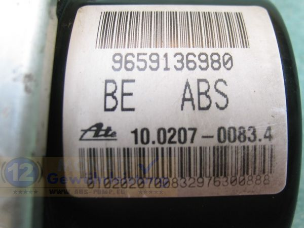 Bloc ABS calculateur 9659136980 10.0207-0083.4 Ate 10097011373 Peugeot 206