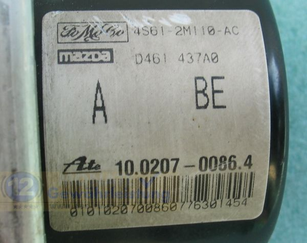 Bloc ABS Fiesta/Fusion/Ka Ford 4S61-2M110-AC 10020700334 10.0207-0086.4 Ate 10097001153 10.0970-0121.3