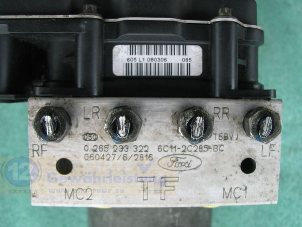 Bloc ABS calculateur 6C112C285BC 0265233322 Bosch 0-265-900-314 Ford Transit