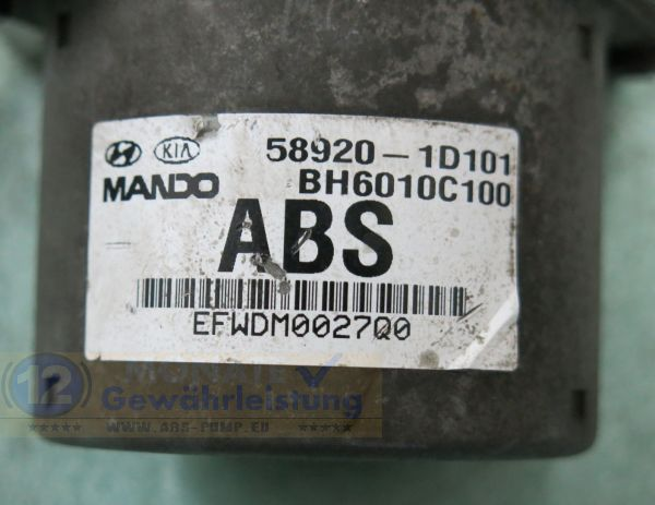 Bloc ABS Calculateur 58920-1D101 Mando BH6010C100 5WY7012A Kia Carens